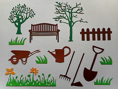 Garden Die Cuts Set Tools Bench Tree -made from Paper - Scrapbooking Card Topper