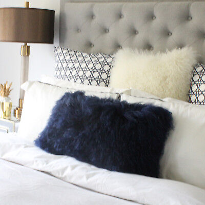 MONGOLIAN SHEEPSKIN FUR LUMBAR CUSHION PILLOW RECTANGLE NAVY BLUE- 30x60cm