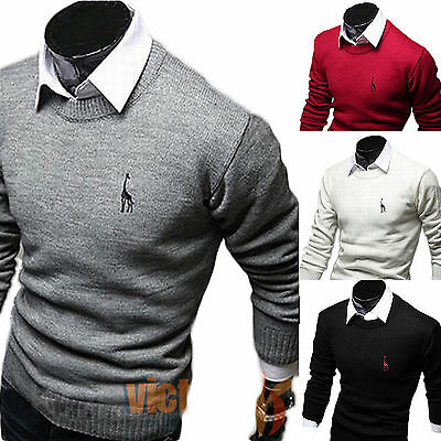 AU Mens Knitted Sweater Crew Neck Top Pullover Knitwear Sweatshirt Cardigan Tops