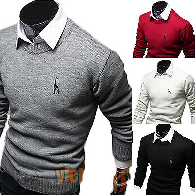 Fashion Mens Crew Neck Jumper Wool Sweater Knitwear Pullover Casual Knitted Tops