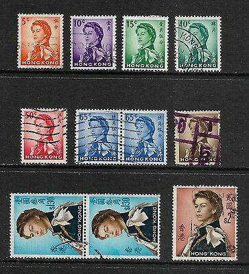 HONG KONG - 1962 Queen Elizabeth II QEII, No.3, mainly used, incl joined pairs