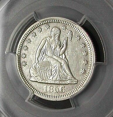 1856 Pcgs Au50 Seated Liberty Quarter - Nearly White / Clear Surfaces / Beauty