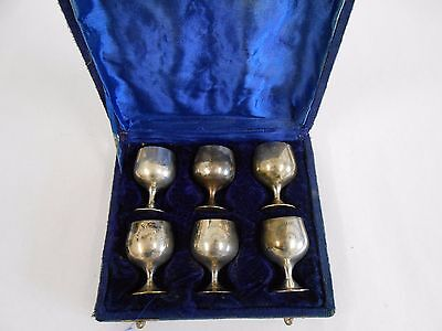 6 Vintage Miniature Silver-Plated EPNS Cups/ Goblets in Presentation Box