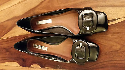ZENSU court shoes with buckle, genuine leather, Size 7.5
