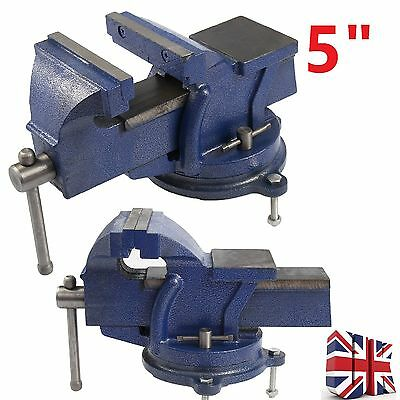 """5"""" 125mm Work Shop Bench Vice Vise Clamp Engineer Jaw Swivel Base Cast Iron Tool"""