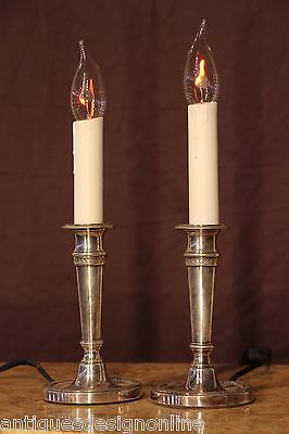 Pair antique French Empire silver bronze candlestick electric lamps candelabra