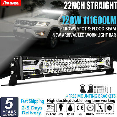 22Inch 720W LED Work Light Bar SPOT FLOOD COMBO Driving Off Road Boat 4X4 23''