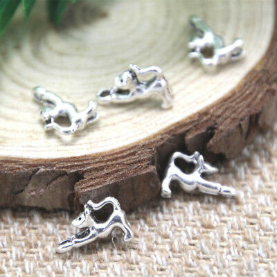 35pcs-Hanging Cat Charms, Antique Tibetan silver Hanging Cat pendants 10x9mm
