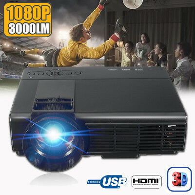 7000 Lumens 3D 1080P Full Hd Home Theater Multimedia Vga Usb Hdmi Led Projector