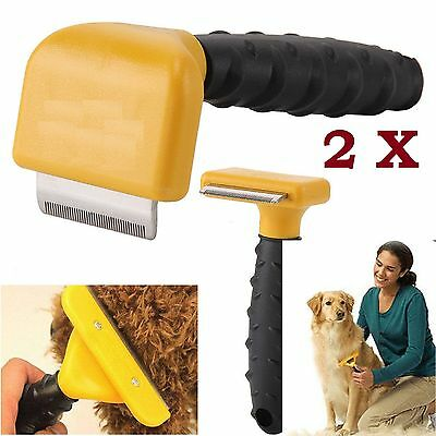 2 X Pet Dog Cat Hair Fur Shedding Trimmer Grooming Rake Comb Brush Tool UK