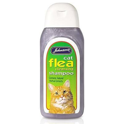 Johnsons Cat Kitten Flea Cleansing Shampoo Insecticidal Herbal Treatment 200ml