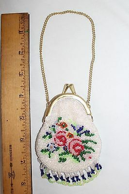 Vintage Small Flower Beaded Purse Coin Purse White w/ Gold Tone