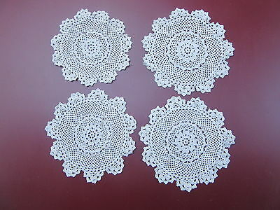 4 X Vintage Small Round Crochet Doilies