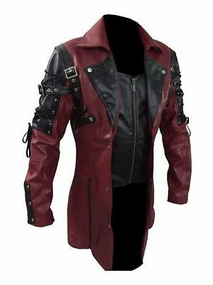 New Arrival Steampunk Men's Gothic Trench Coat Leather Jacket