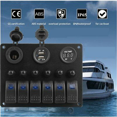 6 Gang LED Waterproof Switch Panel Circuit Breakers Charger 12V USB Boat Marine