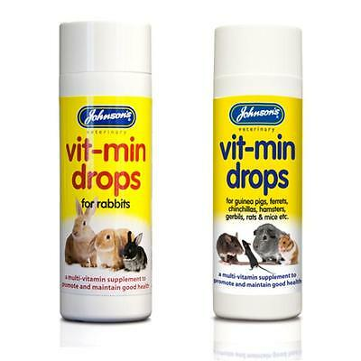 Johnsons SMALL ANIMAL VIT MIN DROPS Multi Vitamin Formula Rabbit Guinea Rodent