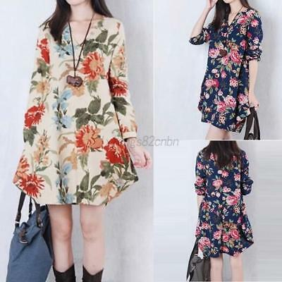 Maternity Dress Women Flower Long Sleeve V-Neck Cotton Dress Plus Size AU