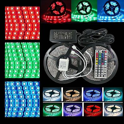 Waterproof 5050 RGB LED Strip Lights Flexible 1m-30m IR Controller Adapter 12V