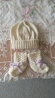 Baby Set Beanie & Booties - Cream/Off White  - Hand Knitted
