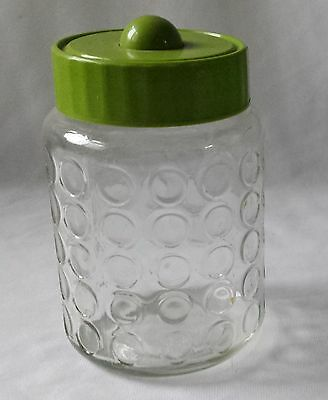 Vintage Nescafe Dimpled Glass Coffee Jar - Green Plastic Lid - Kitchen Storage