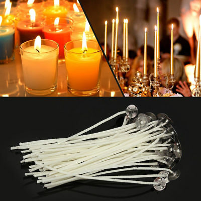 100X 12cm Candle Wick Pre Waxed Cotton with Sustainers For Soy Wax Candle DIY TP