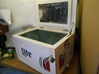 New Miller Lite Wood Metal Ice Chest With Lid Lined Limited Piece Cooler