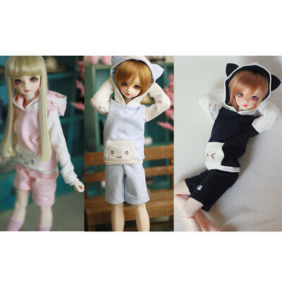 Sets of 3 Casual Hoodie Top Pants Sweatshirt Stockings Outfit for 1/4 BJD SD