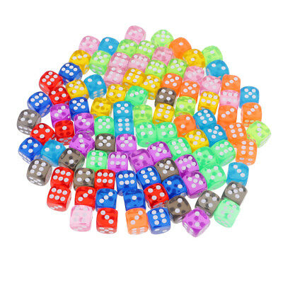 16mm Transparent D6 Dice Mini 6 Sided Die with Dice Bag for Math Education