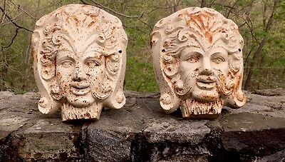 Pair Of Cast Iron Architectural Faces