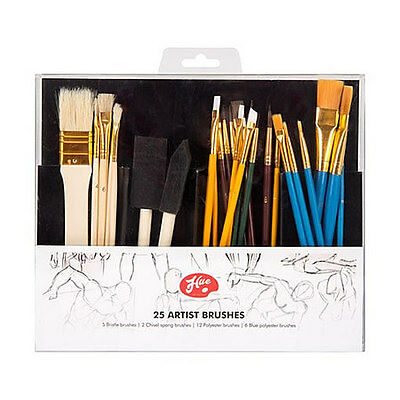 Artist Paint Brushes Brush 25 Piece Set Flat & Tipped Different Size and Length