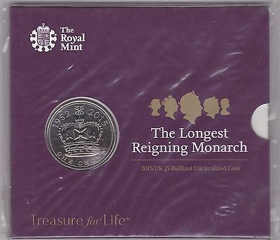 Sealed 2015 Base Metal £5 Coin In Royal Mint Flatpack Longest Reigning Monarch