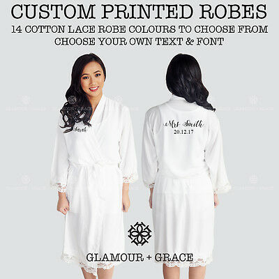 CUSTOM Personalised Printed Bridal Cotton Lace Robe Bride Dressing Gown Wedding