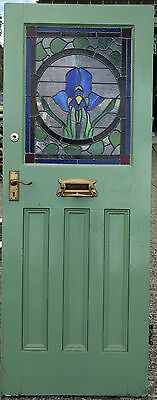 stained glass front door, antique, period feature 1920's, 50mm thick hardwood