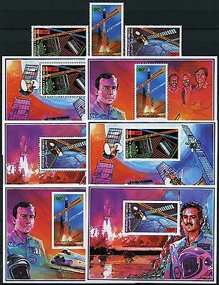 Space Raumfahrt 1985 Djibouti Satellit 454-456 + Block 117-119 A/B MNH/1057