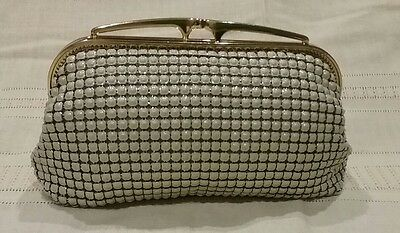Glomesh purse clutch bag beige evening vintage