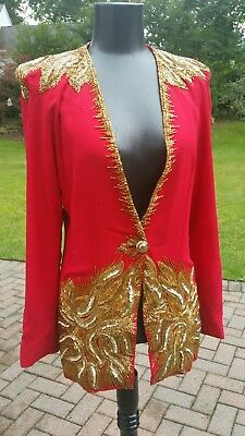 90s Vintage Leon Cliyne Haute Couture True Red w Gold Sequin & Beads Blazer 36B
