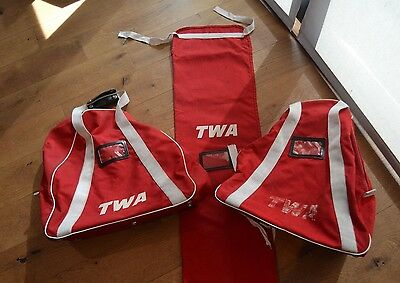 LOT OF 3 VTG 1960s 70s  VINTAGE RED TWA AIRLINE CARRY TRAVEL BAGS  (V124)