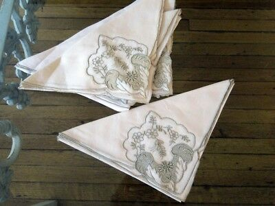 Antique Linen- Madeira,marghab? Linen And Organdy Embroidered Napkins