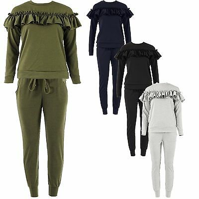 Girls Ladies Ruffle Frill Tracksuit Kids 2 Piece Co ord Loungewear Jogger Set