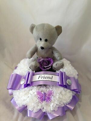 Artificial Silk Funeral Flower Wreath Ring Teddy Bear Tribute Memorial Floral
