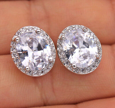18K White Gold Filled - 8*10MM White Oval Topaz Stud Wedding Earrings Jewelry