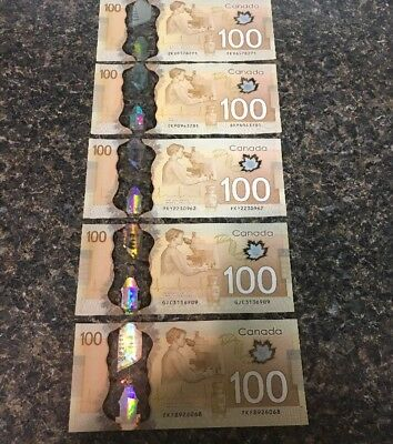 Five Lightly Circulated $100 Canadian Currency Bill Notes. Shipped With Tracking