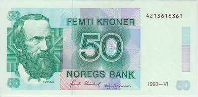 NORWAY BANKNOTE P#42e-6361 50 KRONER 1993 ALMOST UNCIRCULATED  USA SELLER