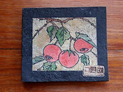 art pottery plate asian sushi japanese persimmon high quality well made signed