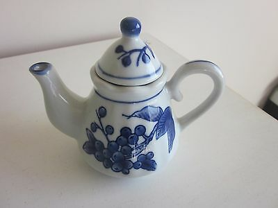 "Small Nantucket Tea Pot blue and white 5.50""H"