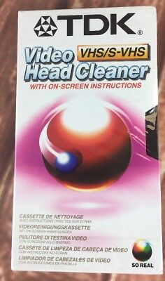 TDK Video Head Cleaner VHS/S-VHS with on-screen instructions CLVS-EB  (NEW)