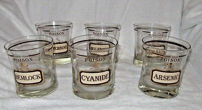 Vintage Cera Name Your Poison Bar Glass Set of 6