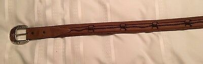 Men's Justin Western Leather Belt Size 36 Barbed Wire Fenced In C10817 Brown EUC