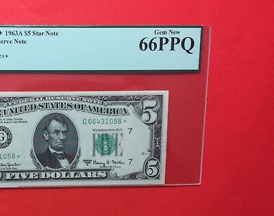 1963 A- Federal Reserve Note  $5 ..******star*****graded-Pcgs Gem New -66 Ppq.
