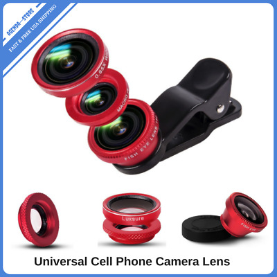 Camera Lens Universal Portable Cell Phone Clip On Kit Optical Macro Wide Angles